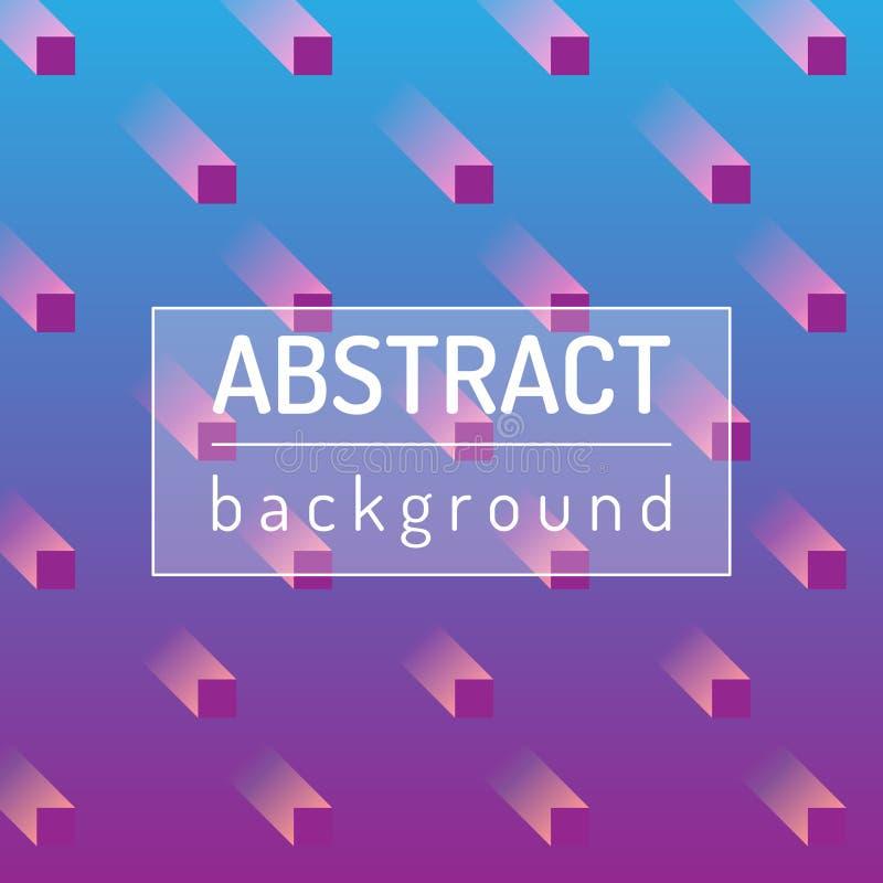 Blauw met roze abstracte achtergronden met onscherpe kubussen Vector artistieke illustratie stock illustratie