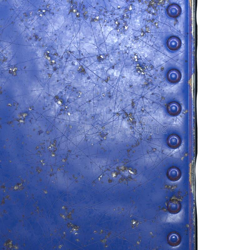 Blauw metaal, geverfd, met klinknagels op zwarte metalen achtergrond 3d stock fotografie
