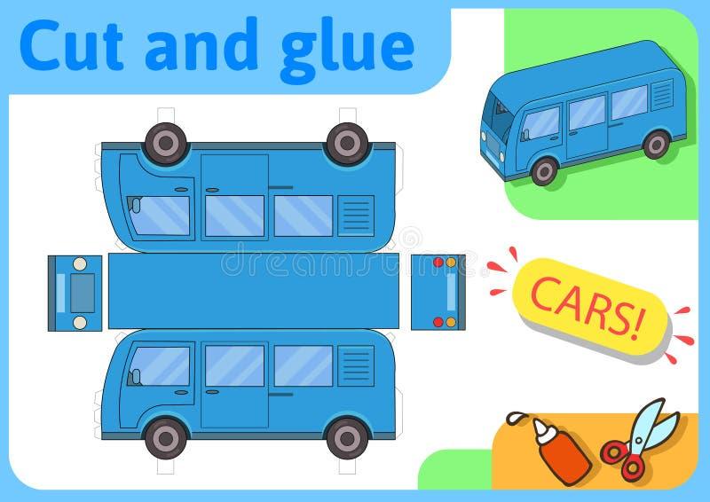 Blauw minibusdocument model Het kleine project van de huisambacht, document spel Verwijderd, vouwen en lijm Knipsels voor kindere stock illustratie