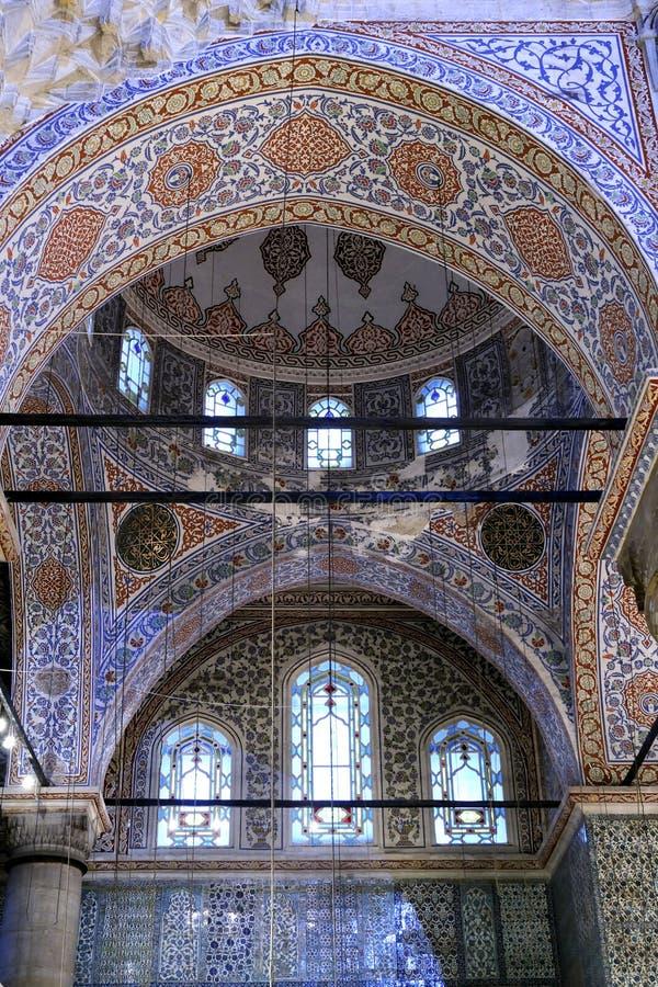 Blauw moskeebinnenland stock foto
