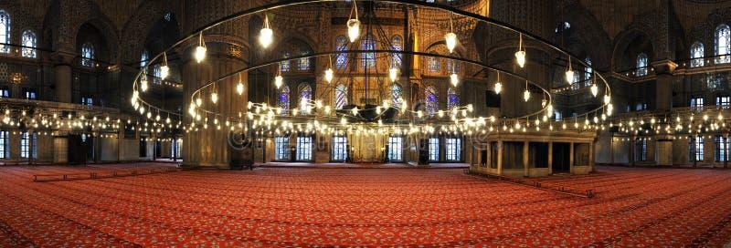 Blauw moskeebinnenland stock afbeeldingen