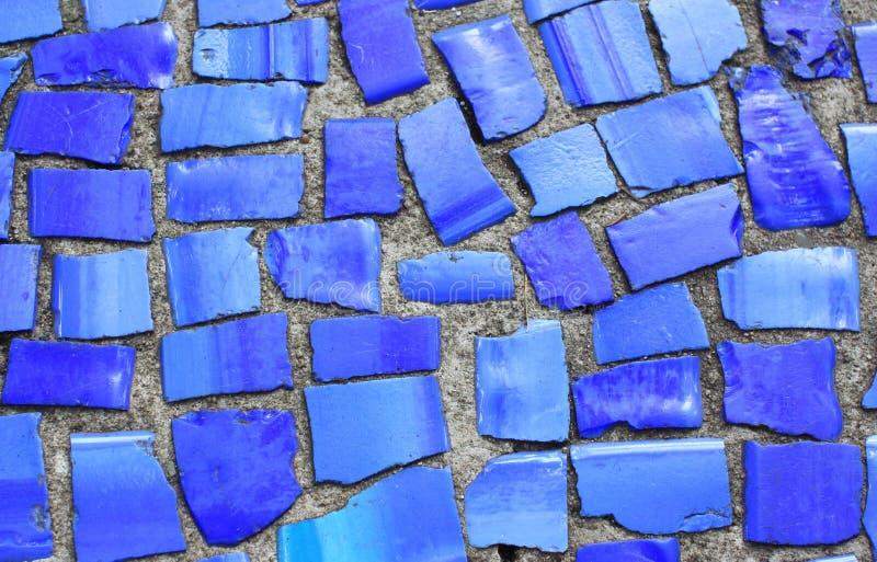 Blauw mozaïek stock afbeeldingen