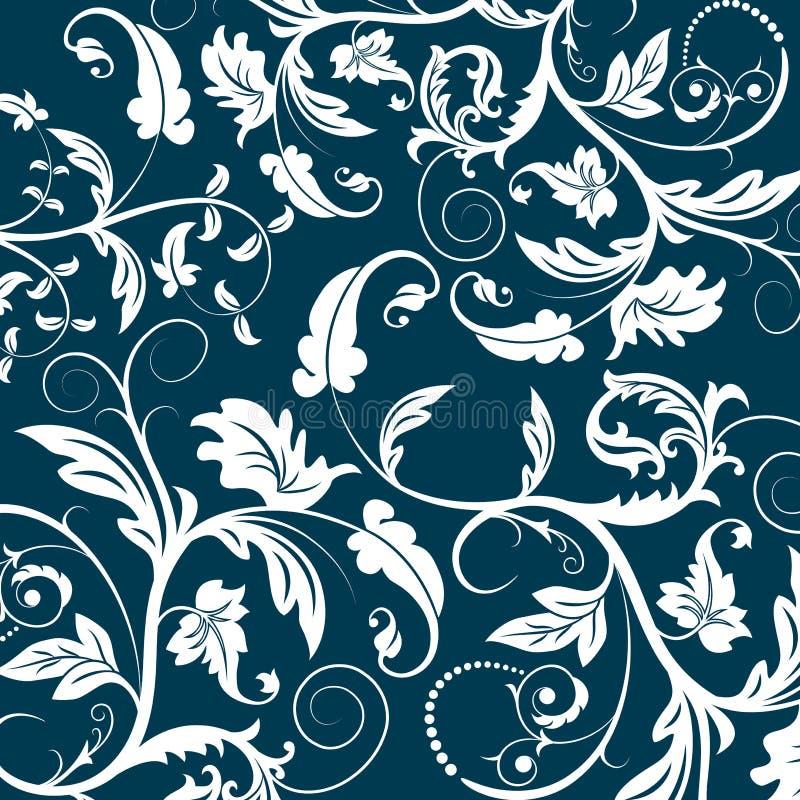 Blauw naadloos bloempatroon stock illustratie