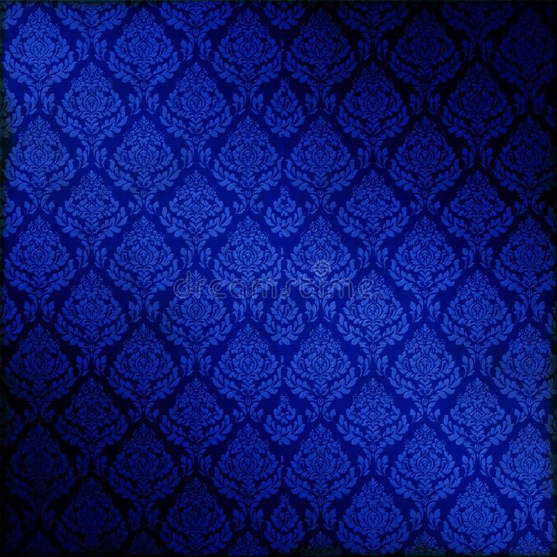 Blauw Naadloos Damast vector illustratie