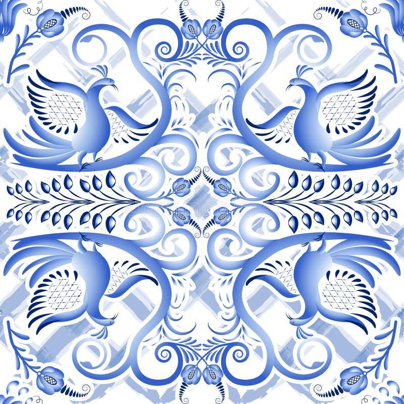 Blauw naadloos licht patroon in etnische stijl Gzhel een waterverfsubstraat Het gestileerde schilderen op porselein vector illustratie