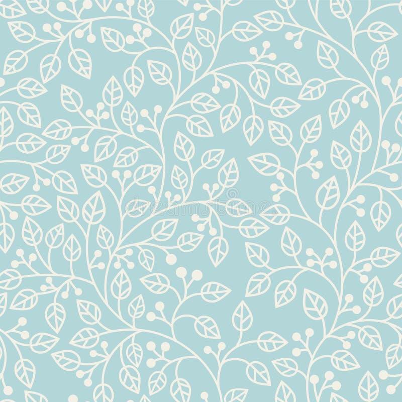 Blauw naadloos patroon met bladeren