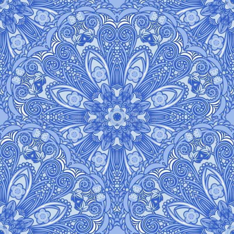 Download Blauw Naadloos Patroon Van Cirkelornamenten Bloemen En Bessenachtergrond In De Stijl Van Het Chinese Schilderen Op Porselein Vector Illustratie - Illustratie bestaande uit mandala, krul: 54077243
