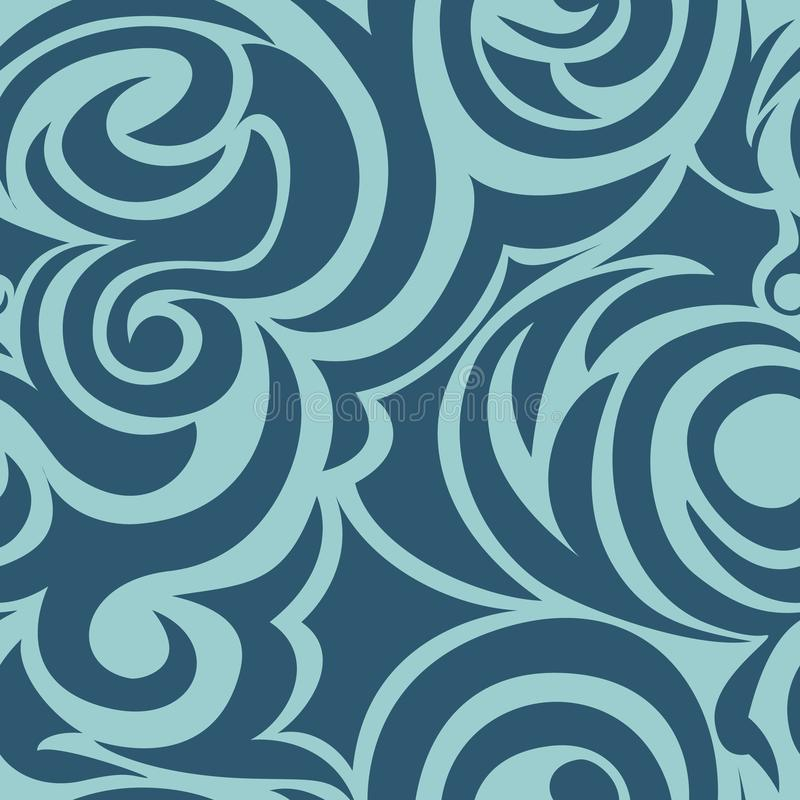 Blauw naadloos patroon van spiralen en krullen Decoratief ornament voor achtergrond vector illustratie