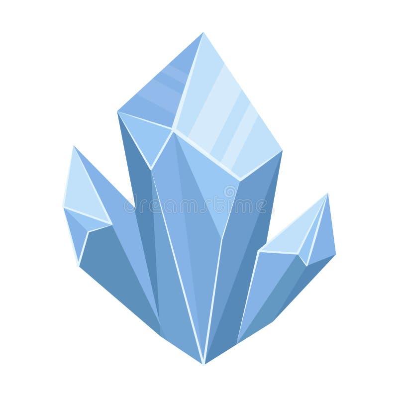 Blauw natuurlijk mineraal die pictogram in beeldverhaalstijl op witte achtergrond wordt geïsoleerd De kostbare mineralen en voorr vector illustratie