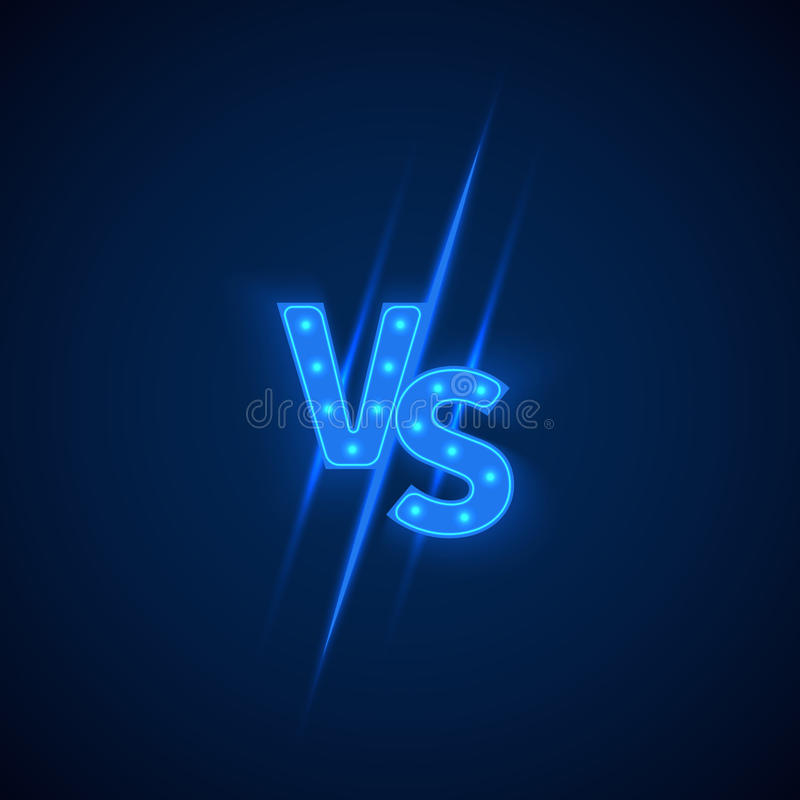 Blauw neon tegenover embleem versus brieven voor sporten en de strijdconcurrentie Vector symbool royalty-vrije illustratie