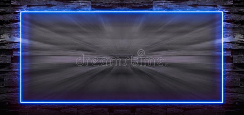 Blauw neonlichtkader op steenachtergrond met motieonduidelijk beeld vector illustratie