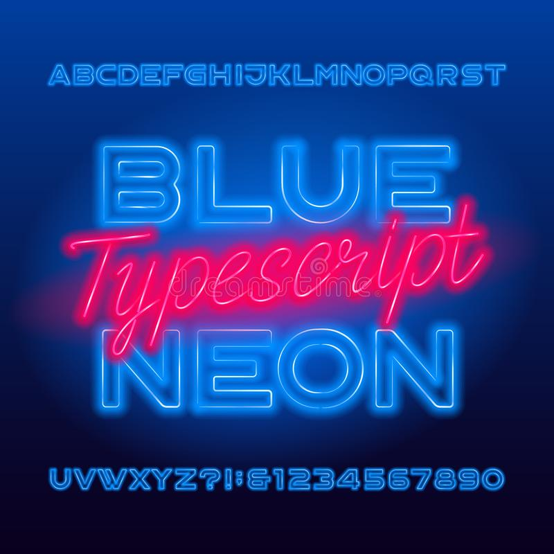 Blauw Neontypescript De blauwe hoofdletters en de getallen van de kleuren gloeilamp royalty-vrije illustratie