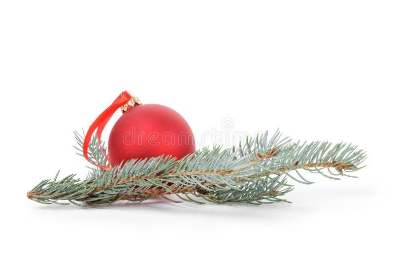 Blauw net takje met Kerstmisbal stock fotografie