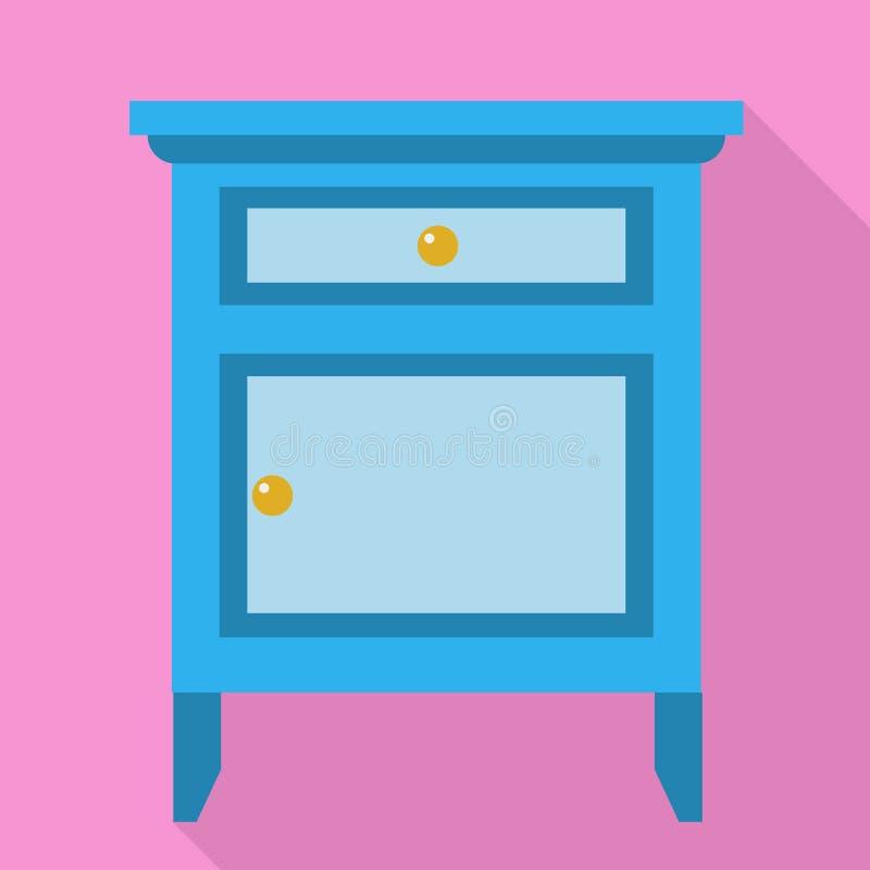 Blauw nightstandpictogram, vlakke stijl stock illustratie