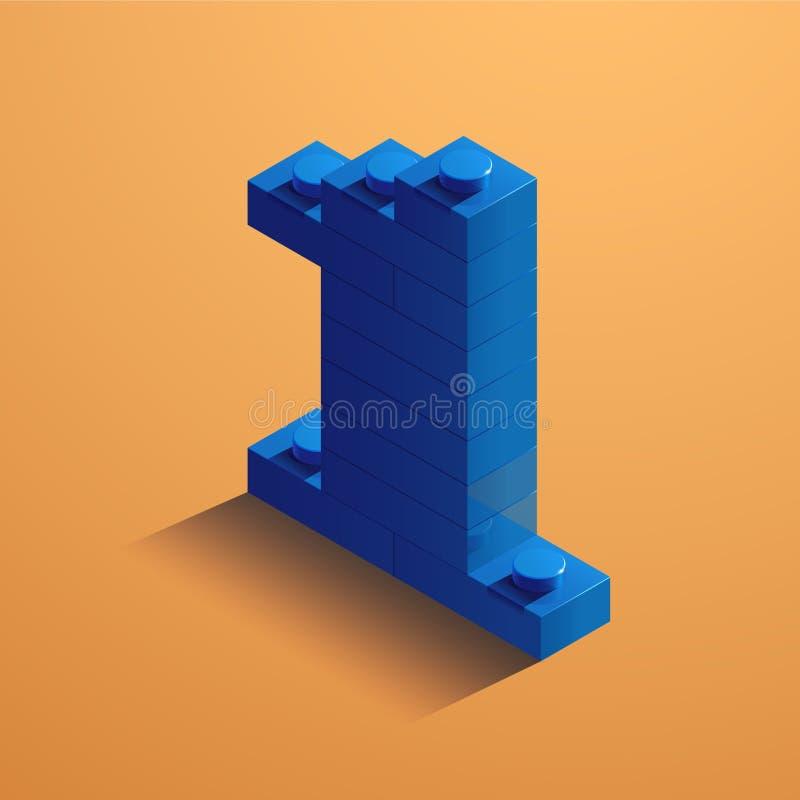 Blauw nummer één van consructorbaksteen op gele achtergrond 3D Lego-baksteen Vector illustratie royalty-vrije illustratie