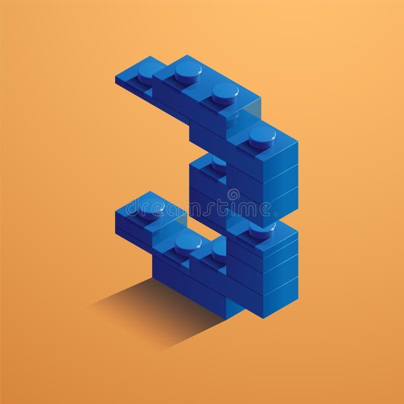 Blauw nummer drie van consructorbaksteen op gele achtergrond 3D Lego-baksteen Vector illustratie stock illustratie