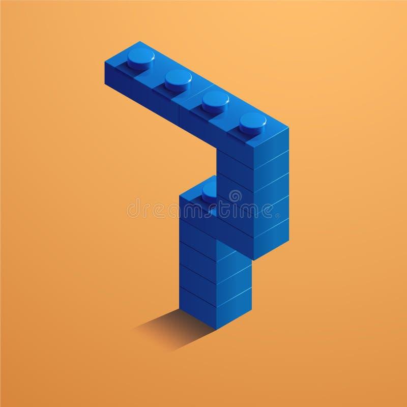 Blauw nummer zeven van consructorbaksteen op gele achtergrond 3D Lego-baksteen Vector illustratie royalty-vrije illustratie