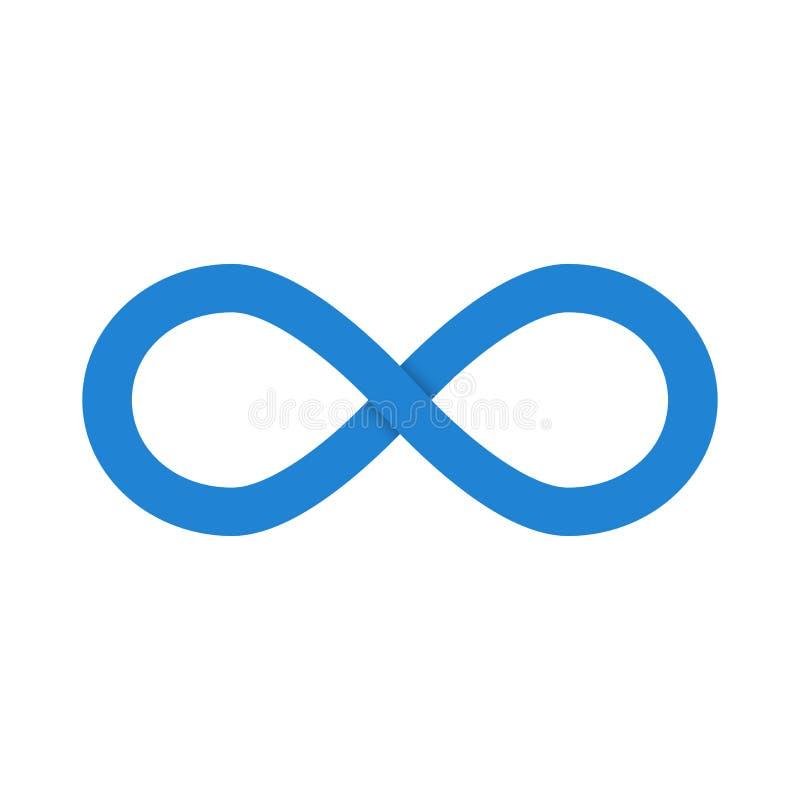 Blauw oneindigheidssymbool met schaduw Vector illustratie vector illustratie