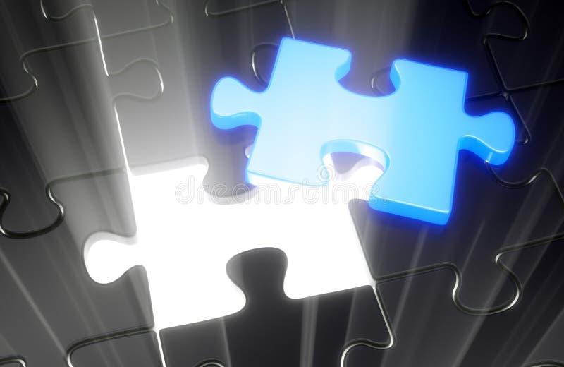 Blauw ontbrekend raadselstuk stock illustratie