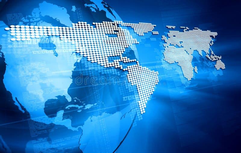 Blauw ontwerp met de wereldkaart royalty-vrije illustratie