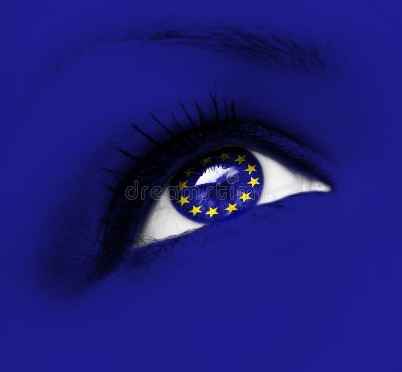 Blauw oog met Europese Unie vlag royalty-vrije stock fotografie