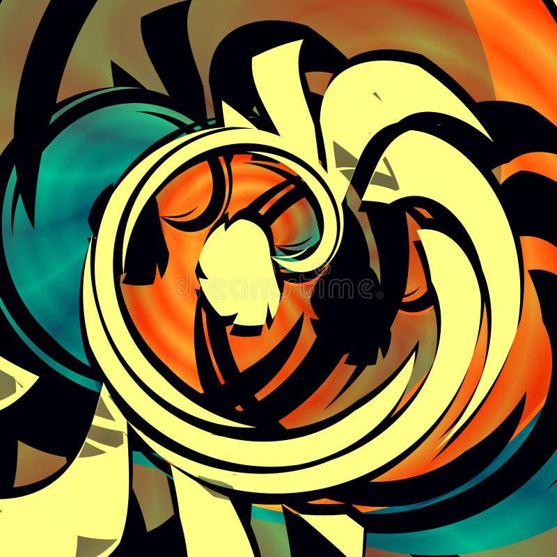 Blauw oranje abstract art. Gemengde krul Arty affichestijl Webgrafiek Unieke vorm Grafische arts. Kunstbehang Grappig beeld royalty-vrije illustratie