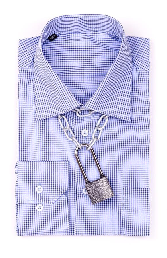 Blauw overhemd met een hangslot royalty-vrije stock foto's