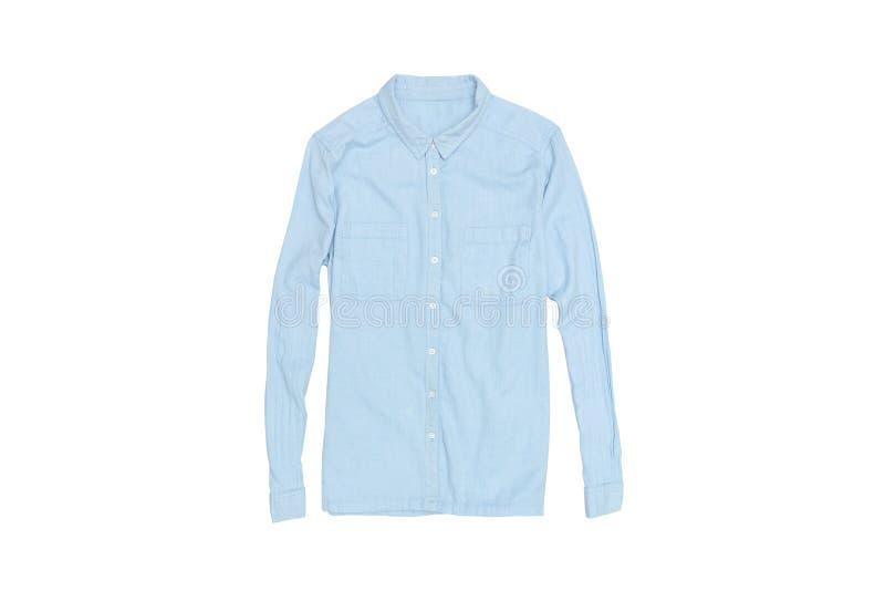 Blauw overhemd op een witte achtergrond isoleer modieus concept stock afbeeldingen