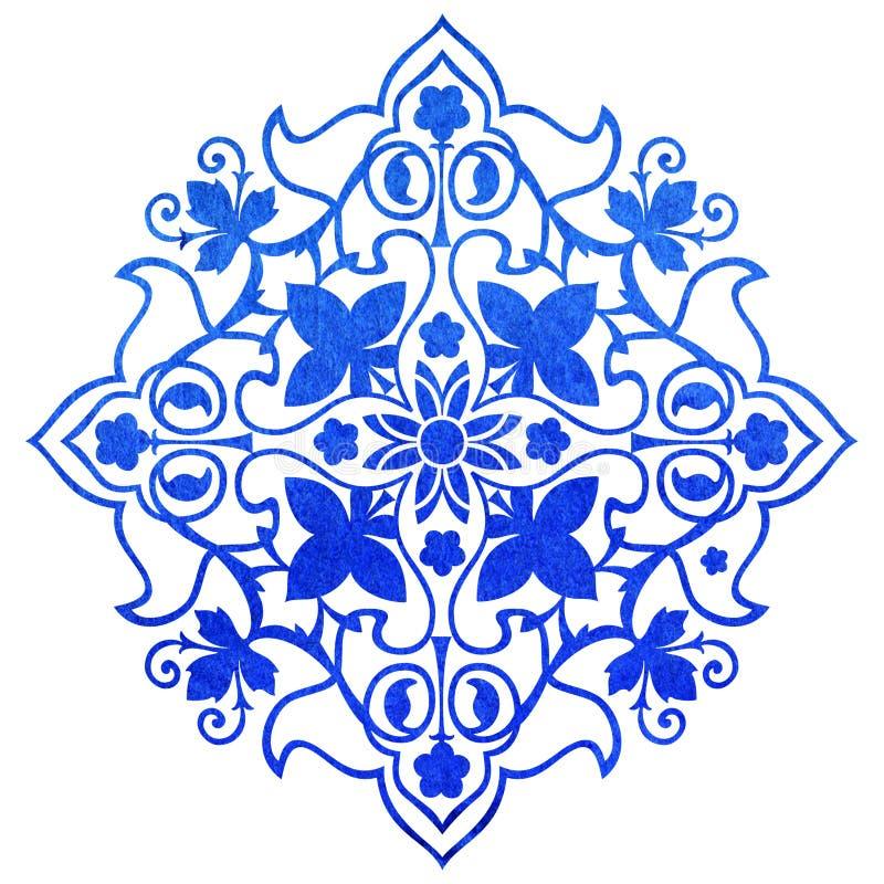 Blauw overladen ornament stock illustratie