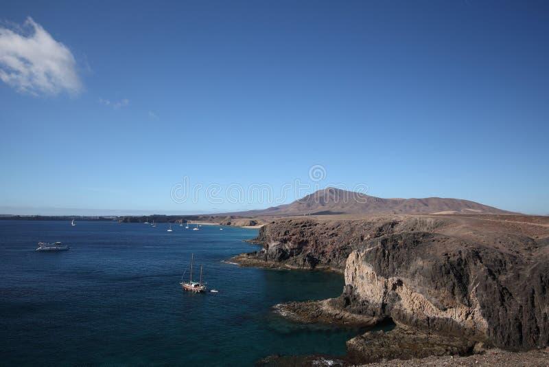 Blauw overzees strand Een deel van de kust op Lanzarote, Canarische Eilanden, Spanje, de zomer royalty-vrije stock afbeeldingen