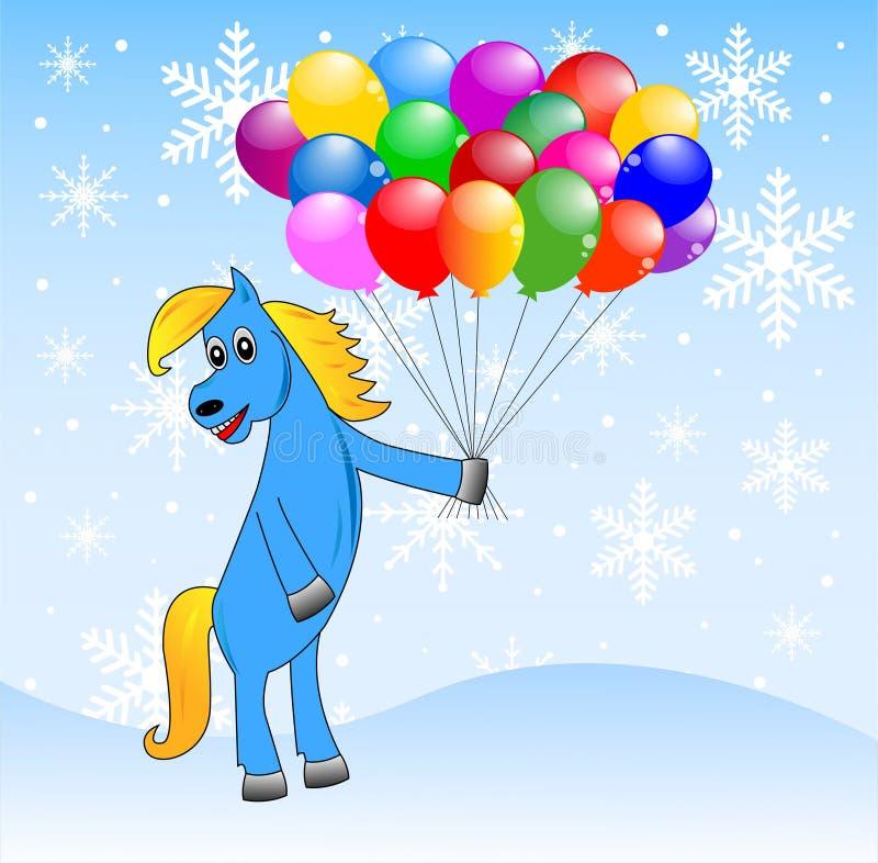 Blauw paard met opblaasbaar marmer stock illustratie