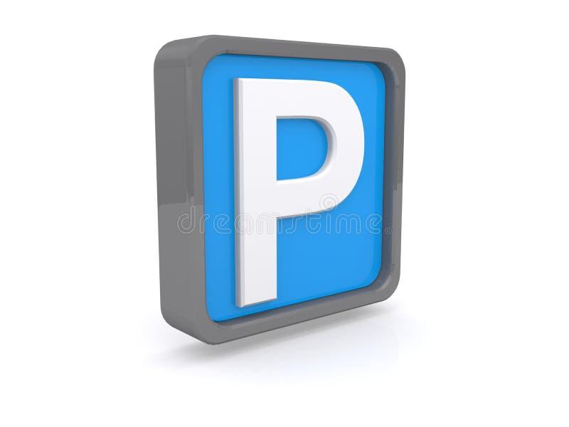 Blauw parkerenteken stock illustratie
