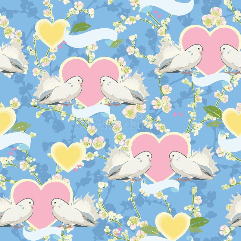 Blauw patroon met duif, hart en kers vector illustratie