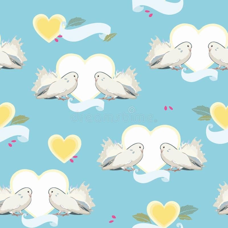 Blauw patroon met duif, hart en kers stock illustratie