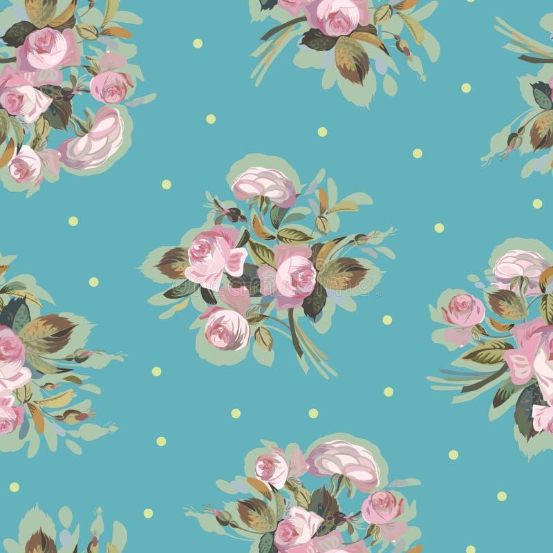 Blauw patroon met roze boeket royalty-vrije illustratie
