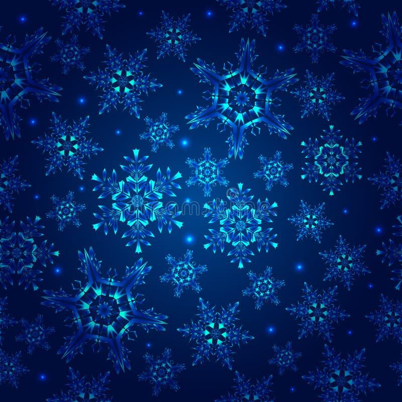 Blauw patroon met sneeuwvlokken vector illustratie