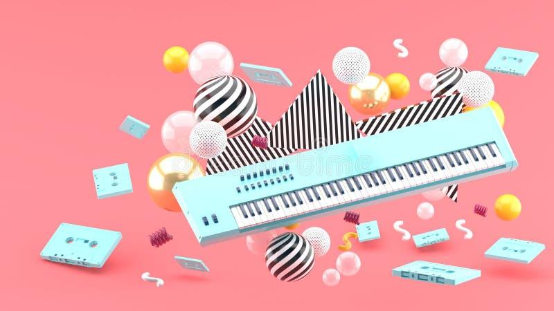 Blauw pianotoetsenbord en blauwe band in het midden van kleurrijke ballen op een roze achtergrond - royalty-vrije illustratie
