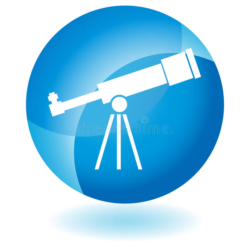 Blauw Pictogram - Telescoop royalty-vrije illustratie