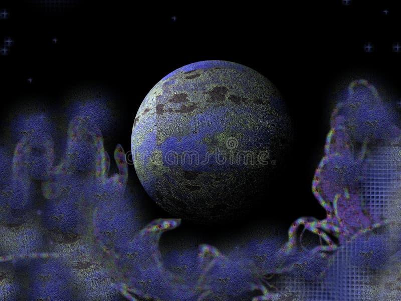Blauw planeet en stof stock illustratie