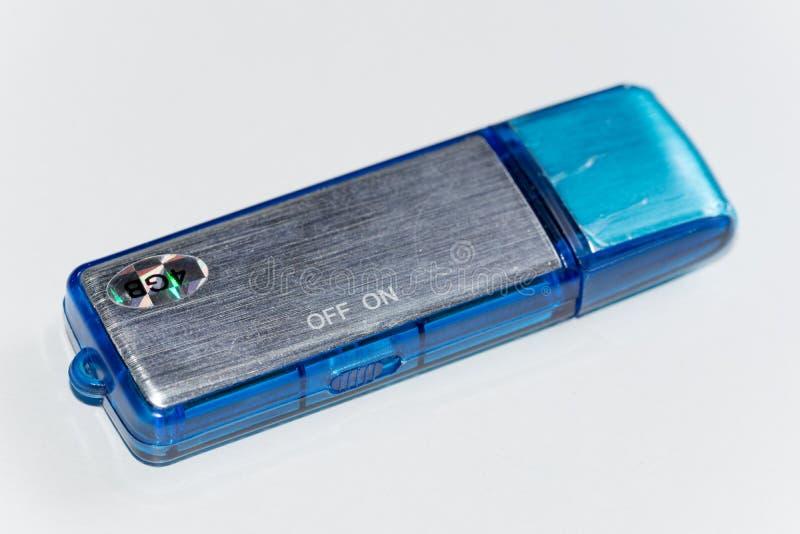 Blauw plastic digitaal de stemregistreertoestel van de usbflits royalty-vrije stock foto's