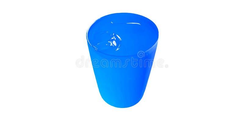 Blauw plastic glas koud die water met ijs op witte achtergrond wordt geïsoleerd stock fotografie