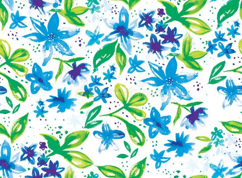 Blauw Plons Bloemen Naadloos het Herhalen Patroon royalty-vrije illustratie