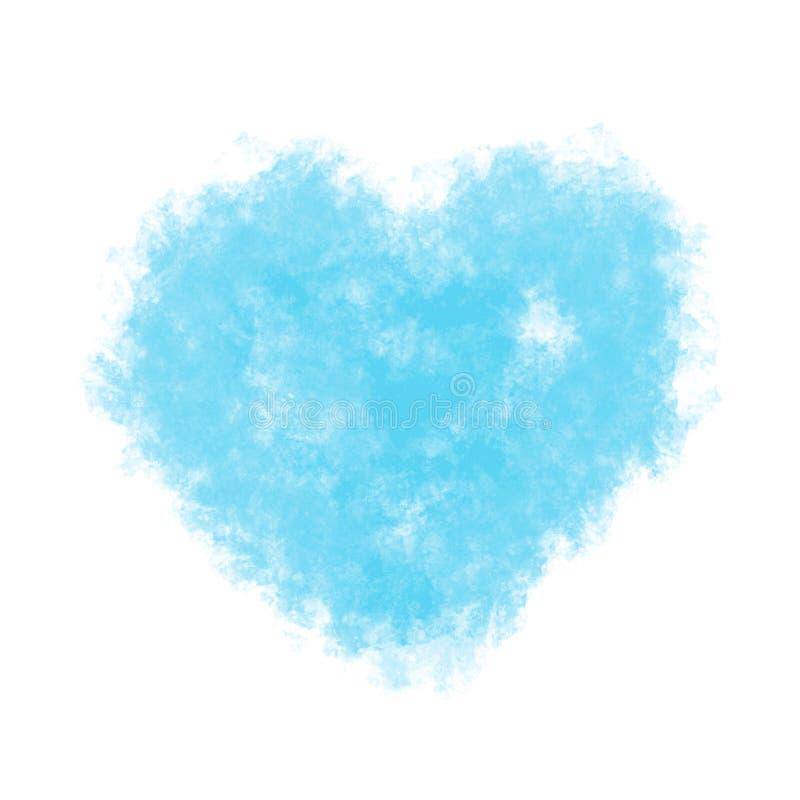 Blauw pluizig hart, waterverfimitatie Vector vector illustratie