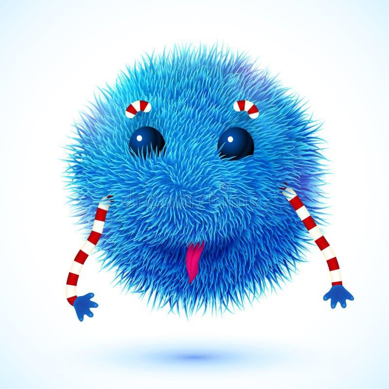 Blauw pluizig vector grappig monster royalty-vrije illustratie