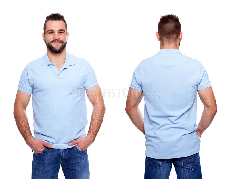 Blauw polooverhemd met een kraag op een jonge mens royalty-vrije stock fotografie