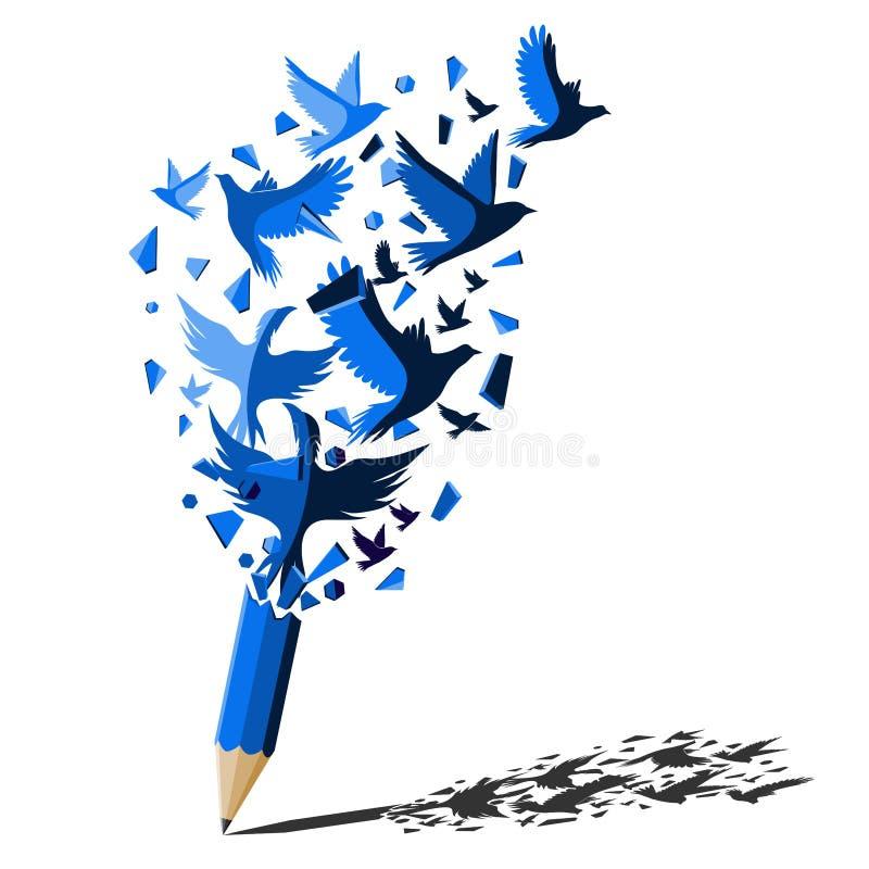 Blauw potlood met het concept van de vogelsvrijheid stock illustratie