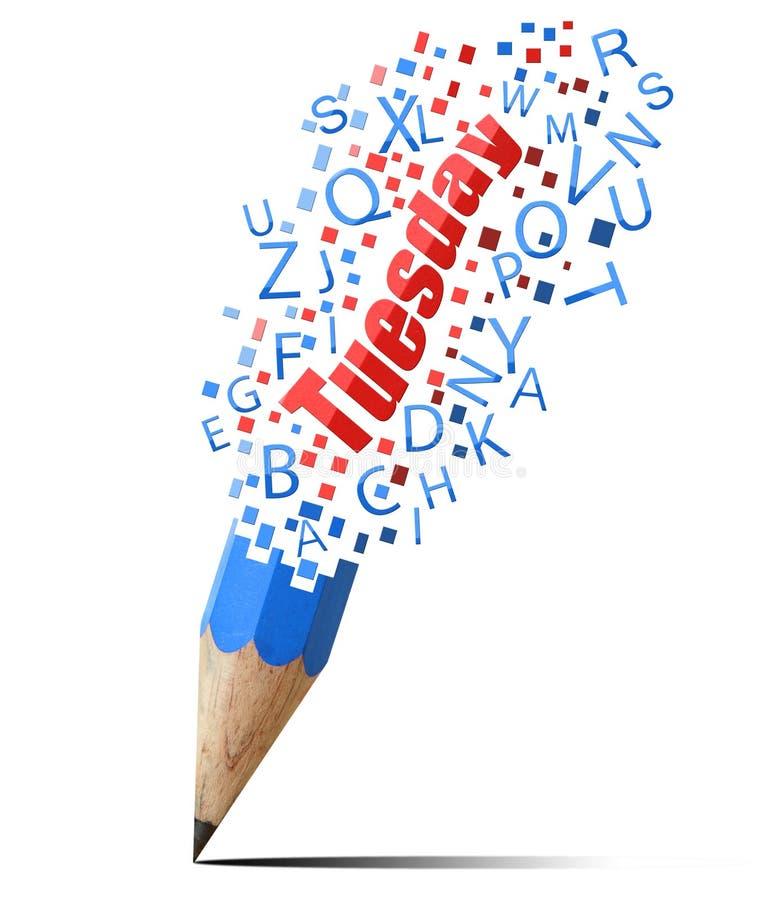 Blauw potlood met rode Dinsdag. royalty-vrije illustratie
