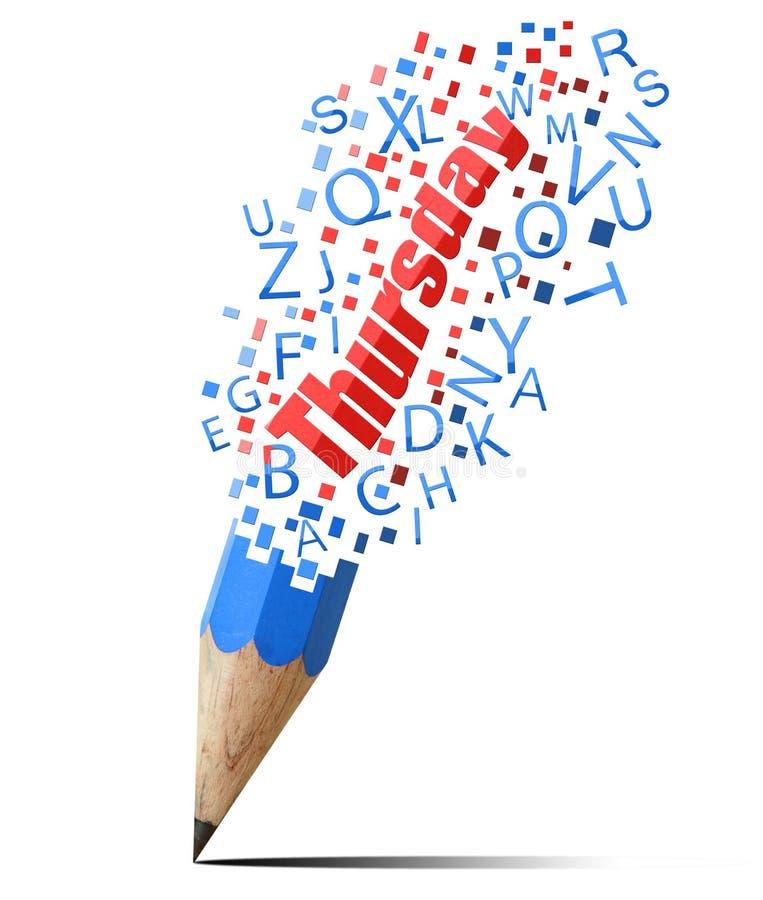 Blauw potlood met rode Donderdag. vector illustratie