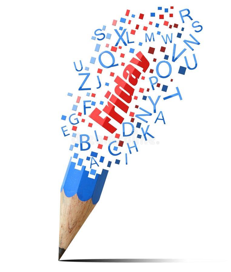 Blauw potlood met rode Vrijdag. royalty-vrije illustratie