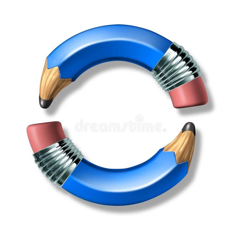 Blauw potlood om frame embleem royalty-vrije illustratie